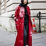 Go For a Long and Colourful Vinyl Coat