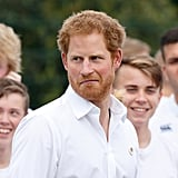 Prince Harry made this hilarious face at a June rugby match in Stockport, UK.