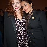 Jessica Chastain and Salma Hayek were two peas in a pod at the Saint Laurent show during Paris Fashion Week on Monday.