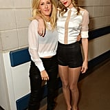 Taylor Swift hung out with Ellie Goulding backstage at her London concert on Tuesday, just moments before she cut off her hair.