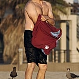 Stephen Moyer pulled his shirt back on after a swim.