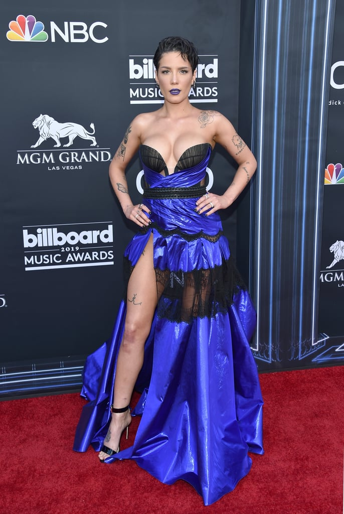 Halsey Wearing a Blue and Black Sheer Dress at the Billboard Music Awards
