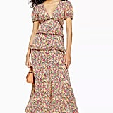 Topshop Floral Open Back Midi Dress