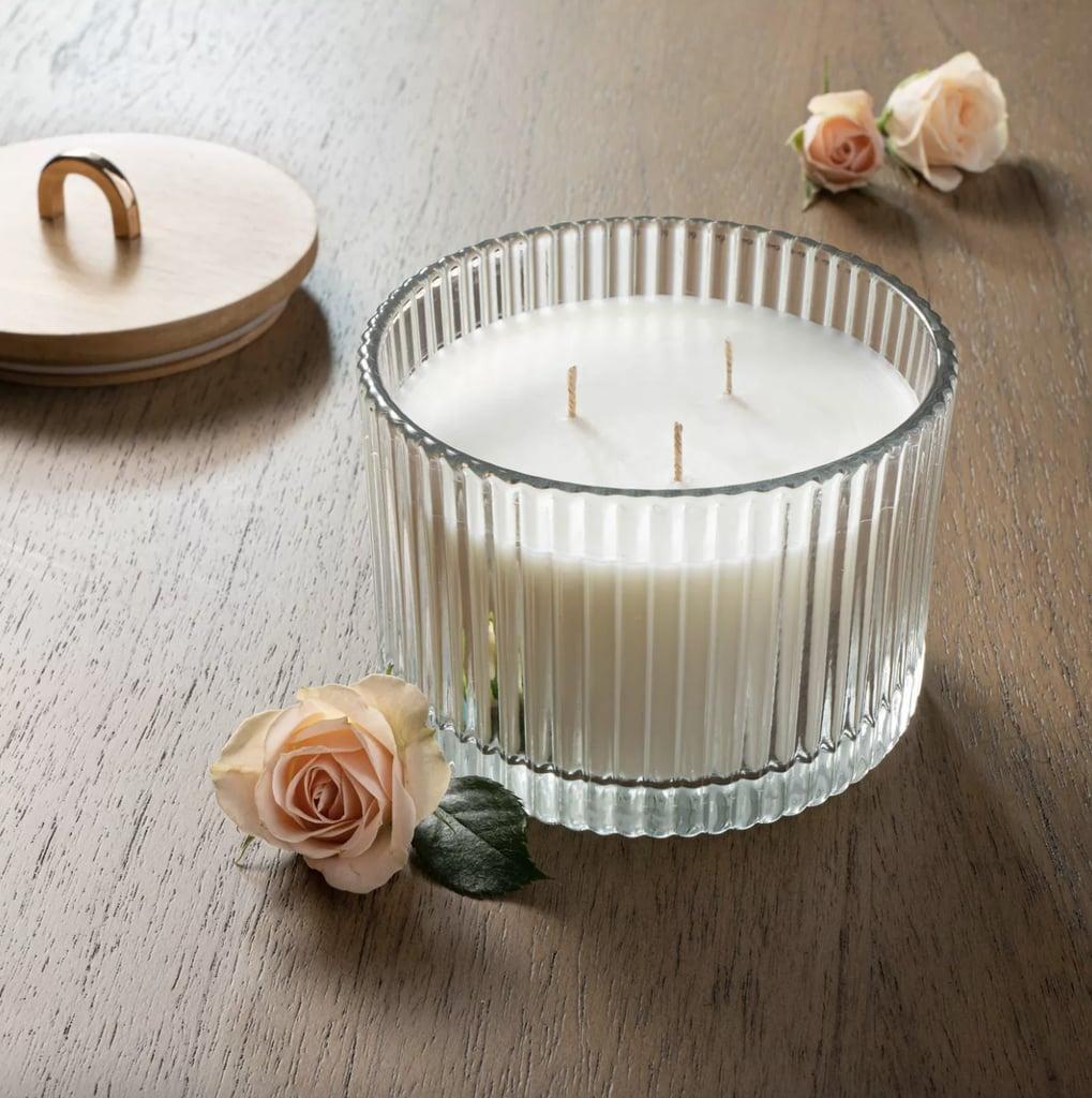 Masala Rose Wood Lidded Ribbed Glass Candle