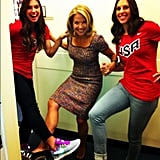 Katie Couric got some soccer pointers from Alex Morgan and Carli Lloyd backstage at Live! With Kelly and Michael. Source: Twitter user katiecouric