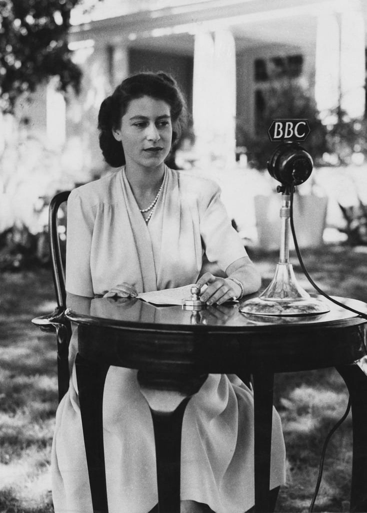 Giving a speech about dedicating herself to service on her 21st birthday in 1947.