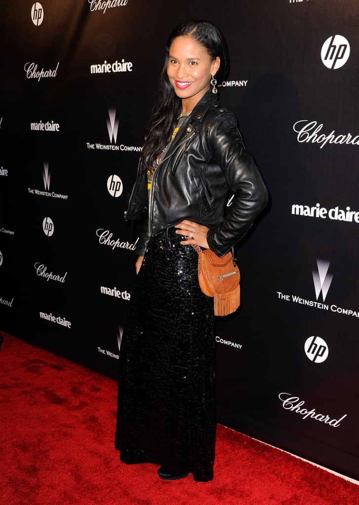 Joy Bryant wore leather to a Golden Globe Awards after party.