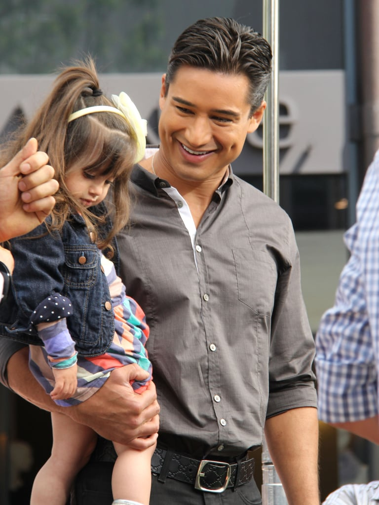 Mario Lopez's daughter, Gia, paid him a special visit on the set of Extra in LA.