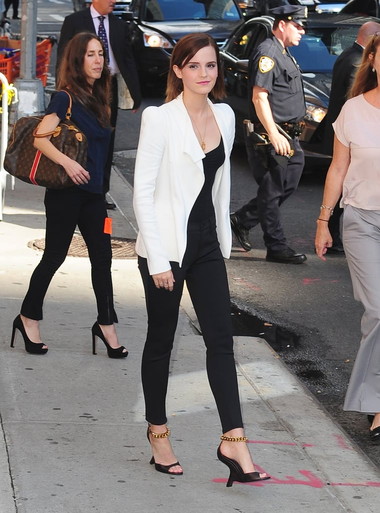 Emma Watson made an appearance on the Late Show in a graphic black and white look that made us melt.