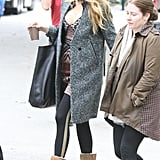 Blake Lively wore a gray jacket to film Gossip Girl in NYC.