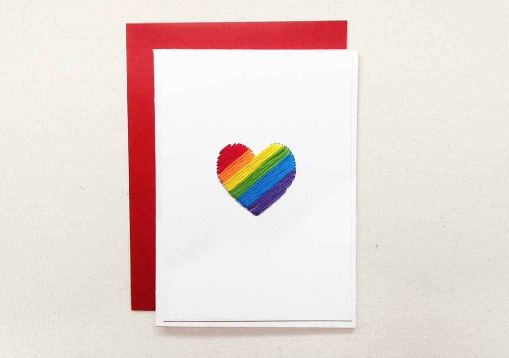 Equality Rainbow heart love greeting card ($5)