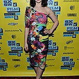 Rachel Korine wore a colorful one-shouldered cocktail dress to the Austin premiere of Spring Breakers.