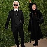 Karl Lagerfeld gave a speech at the event and posed with Lady Amanda Arlech.