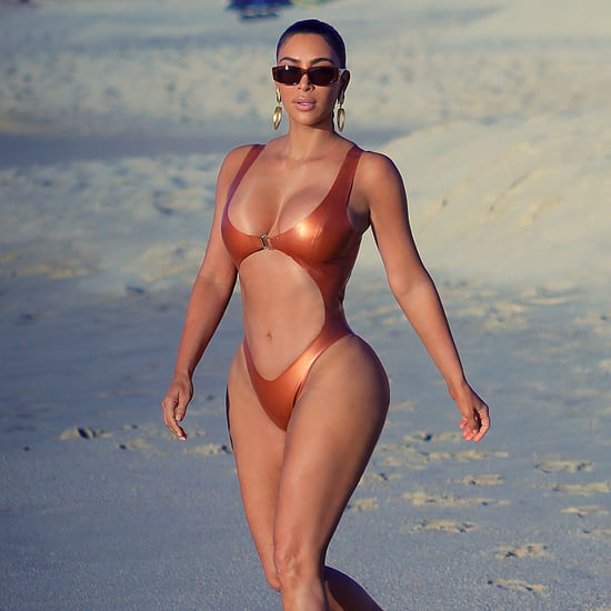 Kim Kardashian's Bronze Monokini Swimsuit in Mexico