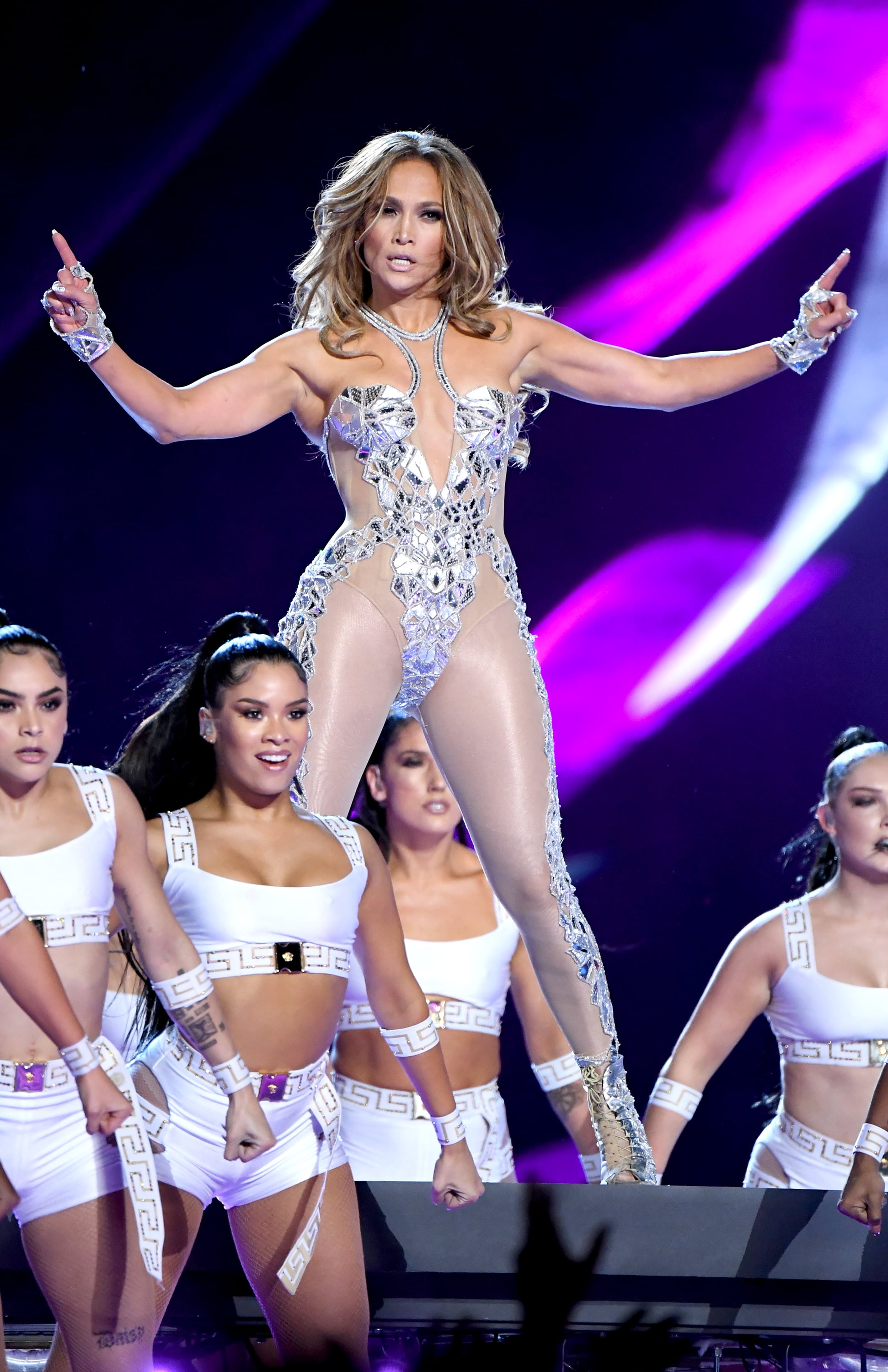 MIAMI, FLORIDA - FEBRUARY 02: Jennifer Lopez performs onstage during the Pepsi Super Bowl LIV Halftime Show at Hard Rock Stadium on February 02, 2020 in Miami, Florida. (Photo by Jeff Kravitz/FilmMagic)
