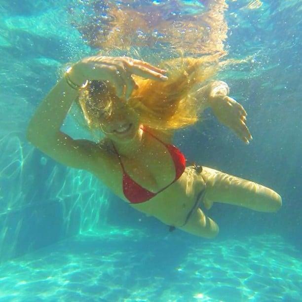 Bar Refaeli spent a day swimming in a mix-and-match bikini. Source: Instagram user barrefaeli