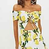39ba78452c6 Nude Strawberry Print Frill Wrap-Over Tea Dress