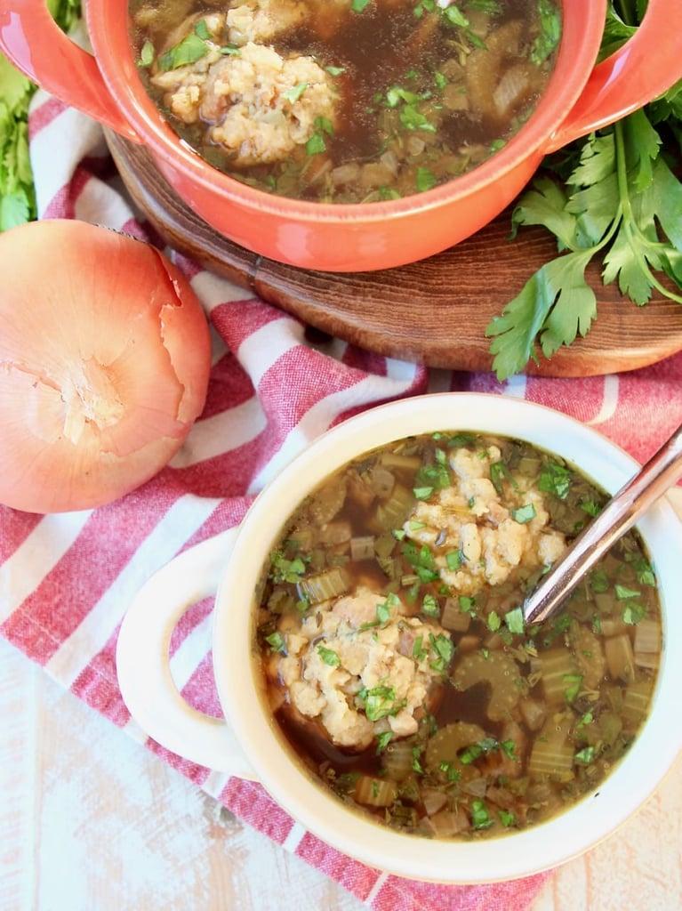 Turkey Soup With Stuffing Dumplings