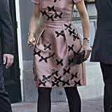 Queen Maxima of the Netherlands wearing a Natan dress.
