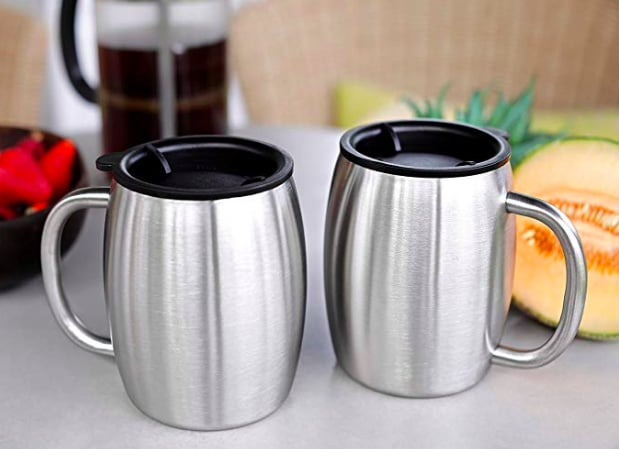 Avito Stainless Steel Coffee Mugs with Lids