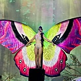 Katy Perry performed on stage at the MuchMusic Video Awards in Toronto wearing a butterfly costume.