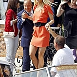 Gwyneth Paltrow got a hand stepping down into a boat while visiting Venice during the city's 2011 film festival.