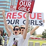 Anne Hathaway and her husband, Adam Shulman, participated in a Bring Back Our Girls rally after the April abduction.