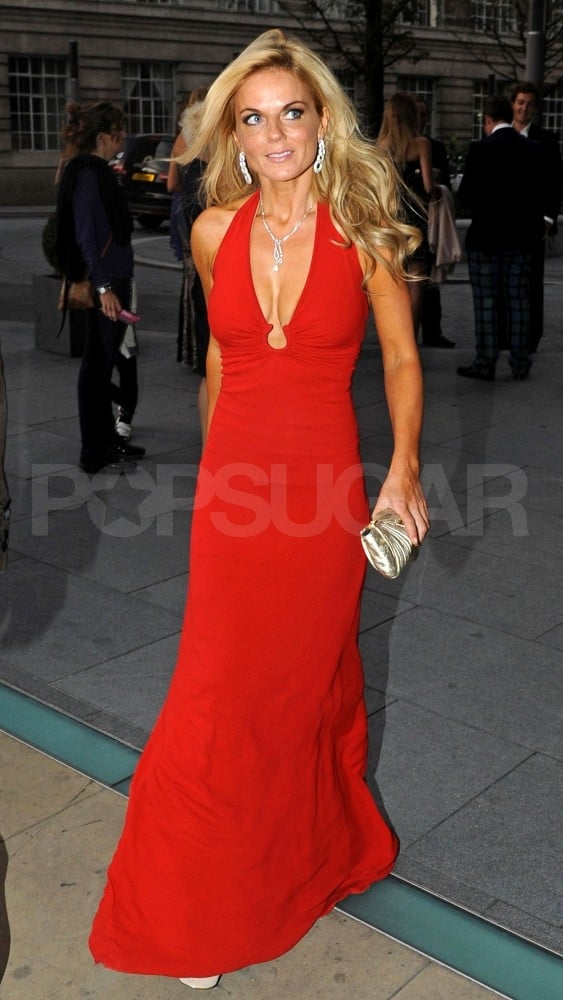 Geri Halliwell wears a long red gown.