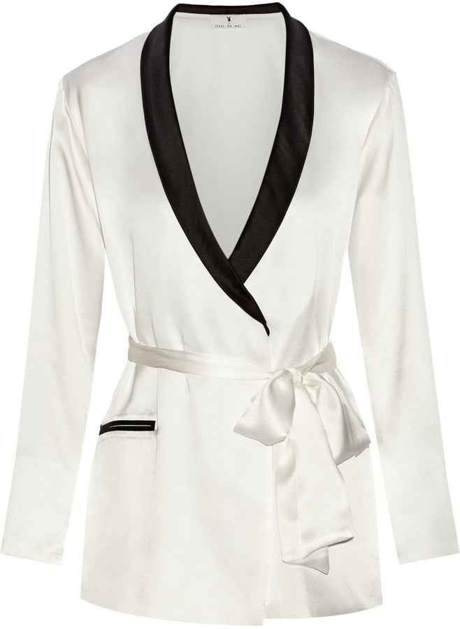 Le Fleur Du Mal + Playboy Two-Tone Silk-Satin Robe ($425)