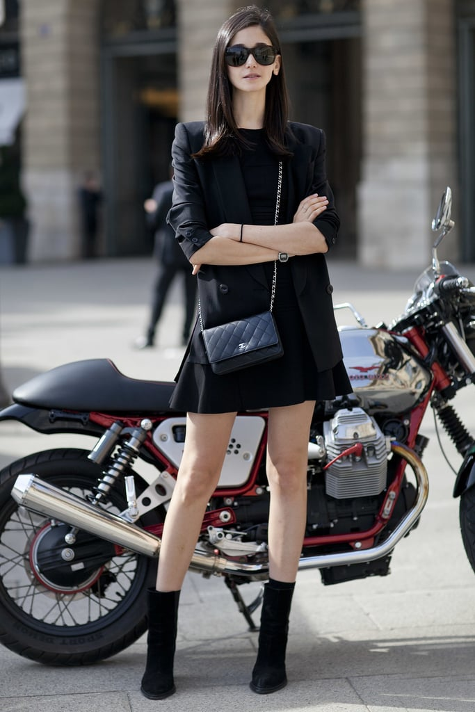 There's something classic about a head-to-toe black look that's also impeccably tailored. To achieve it, stick with a fit-and-flare dress and a streamlined blazer.