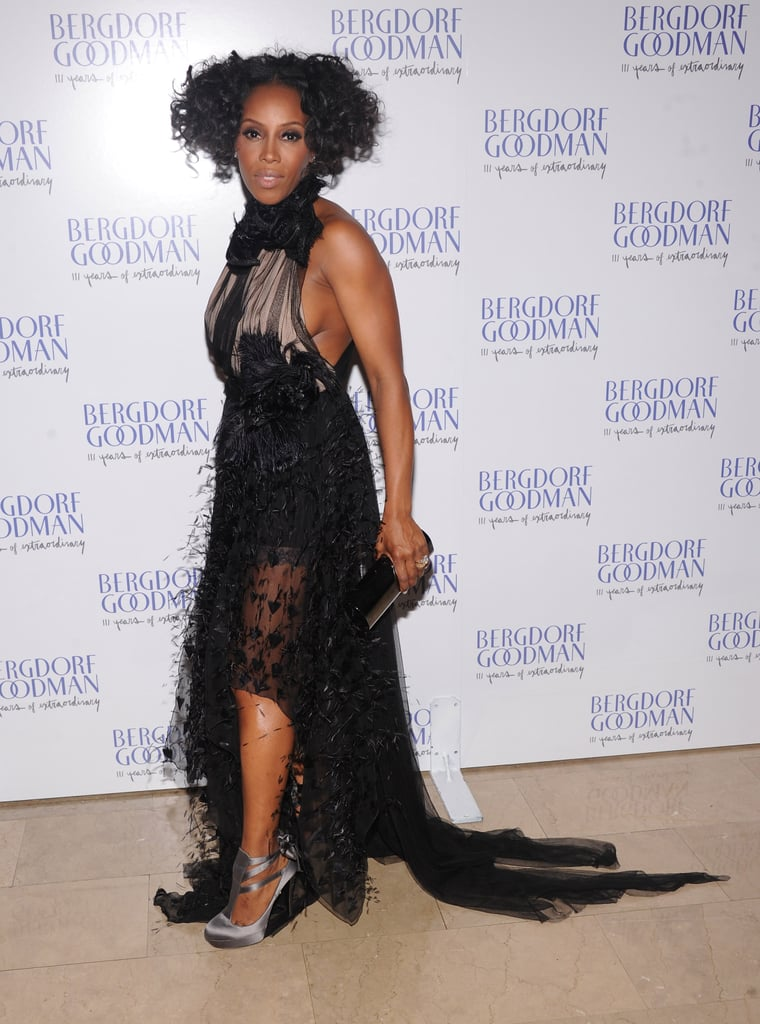 June Ambrose showed off her eccentric glamour in a sheer black gown.