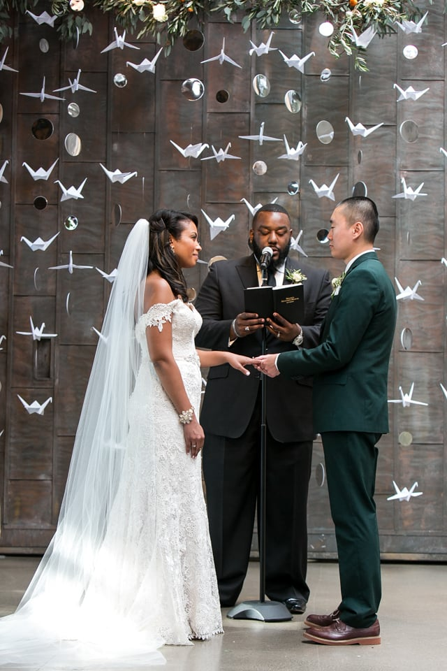 The Bride's Paper Cranes Were Transformed Into a Beautiful Floral Backdrop For the Ceremony