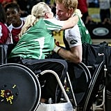 Harry and Zara Phillips hugged while competing in an Exhibition wheelchair rugby match at the Copper Box in 2014.