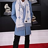 How can we forget about this look? During the 2018 Grammys, Tyler wore an icy blue Louis Vuitton outfit.