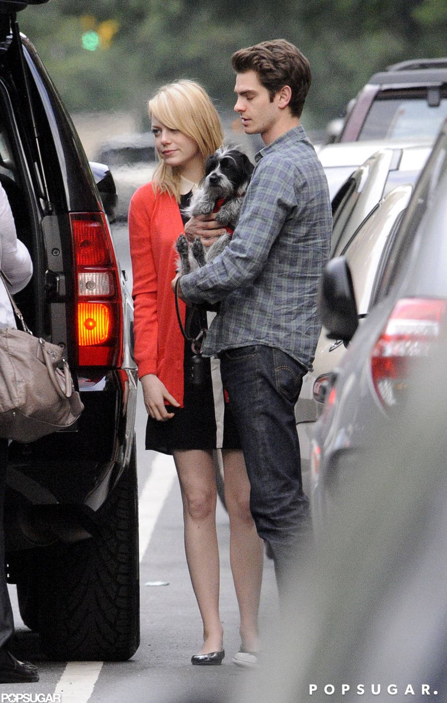 Emma Stone and Andrew Garfield held their dog and said goodbye to her mom on Mother's Day in NYC.