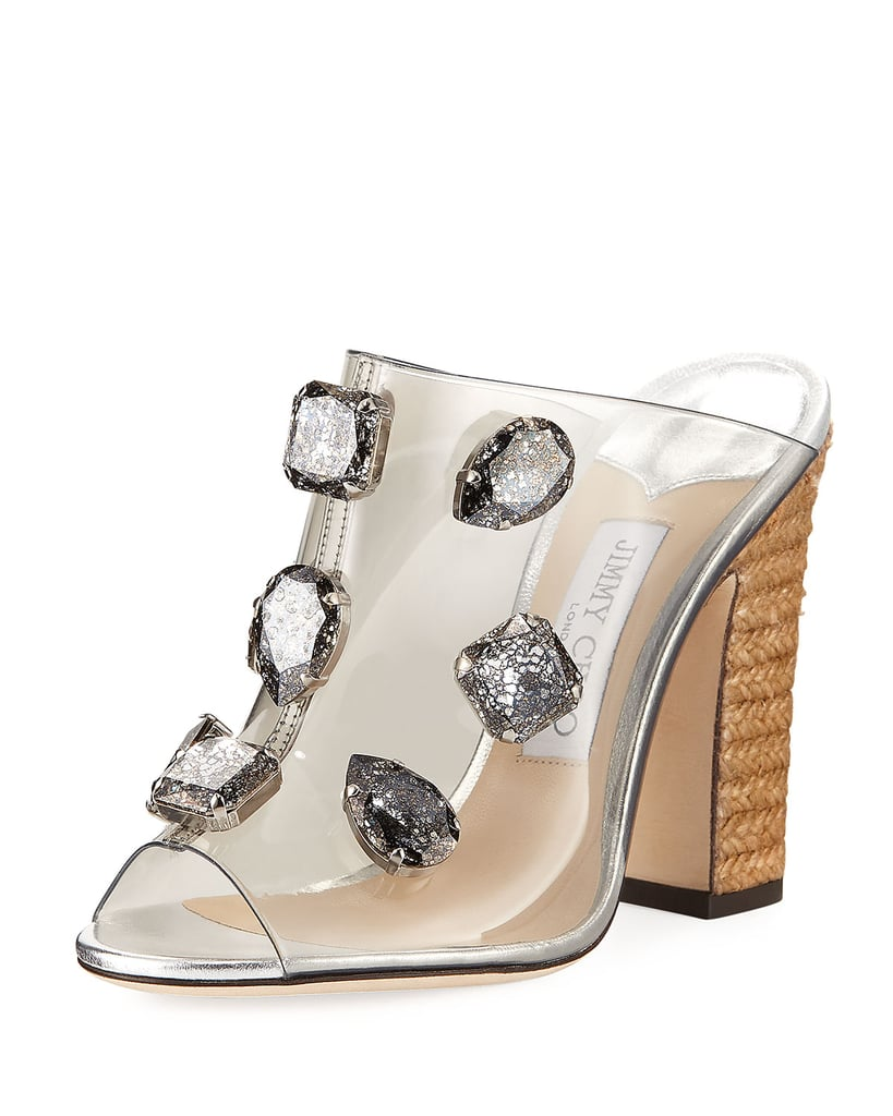 a3ecb982f2e Jimmy Choo Ling Jeweled Plexi Slide Sandal With Rope Heel