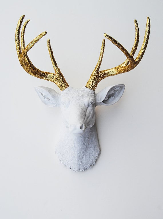 white faux taxidermy 39 s etsy shop is full of amazing wall art and i 39 m popsugar gifts under. Black Bedroom Furniture Sets. Home Design Ideas