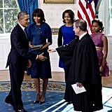 A full-length shot of Michelle's Reed Krakoff ensemble at the swearing-in ceremony at the White House.