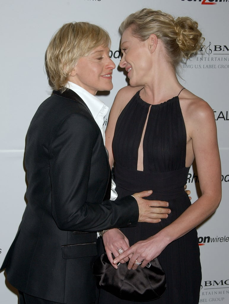 Ellen DeGeneres and Portia de Rossi really seem to have that love that most people spend their whole lives searching for. The couple has been together since 2004 and will be celebrating their 10th wedding anniversary this August. In addition to saying the sweetest things about each other, Ellen and Portia always appear to make it a point to show PDA wherever they go, and we can't get enough of it. Whether they're holding hands on the red carpet or sharing a kiss during a casual stroll, it's clear that these two are head over heels in love with each other.