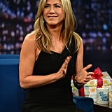 Jennifer Aniston Comes Bearing Gifts For Jimmy Fallon's New Baby