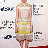 Michelle Williams looked sweet in a colorful dress.
