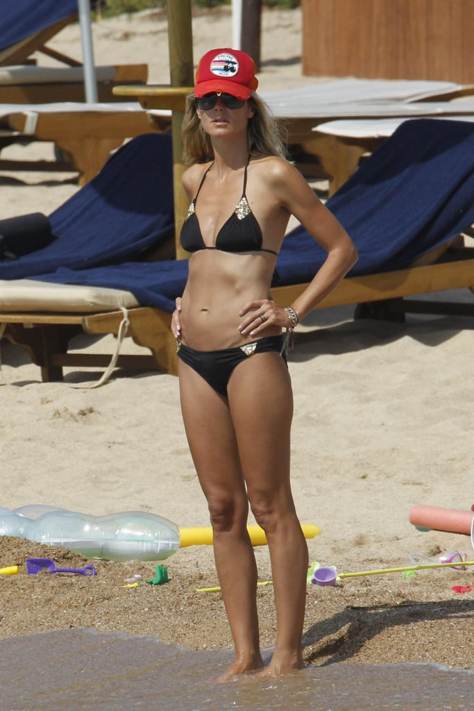 Heidi Klum put her fit figure on display in August 2011 in Sardinia.