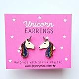 Rainbow Glitter Unicorn Earrings ($9)