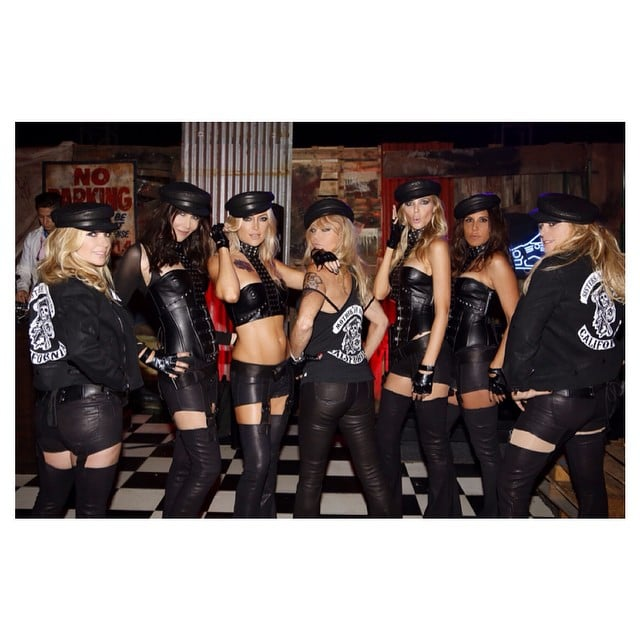 "Kate Hudson and her girlfriends dressed as the ""Daughters of Anarchy,"" with the actress's mom, Goldie Hawn, as their matriarch in 2014."