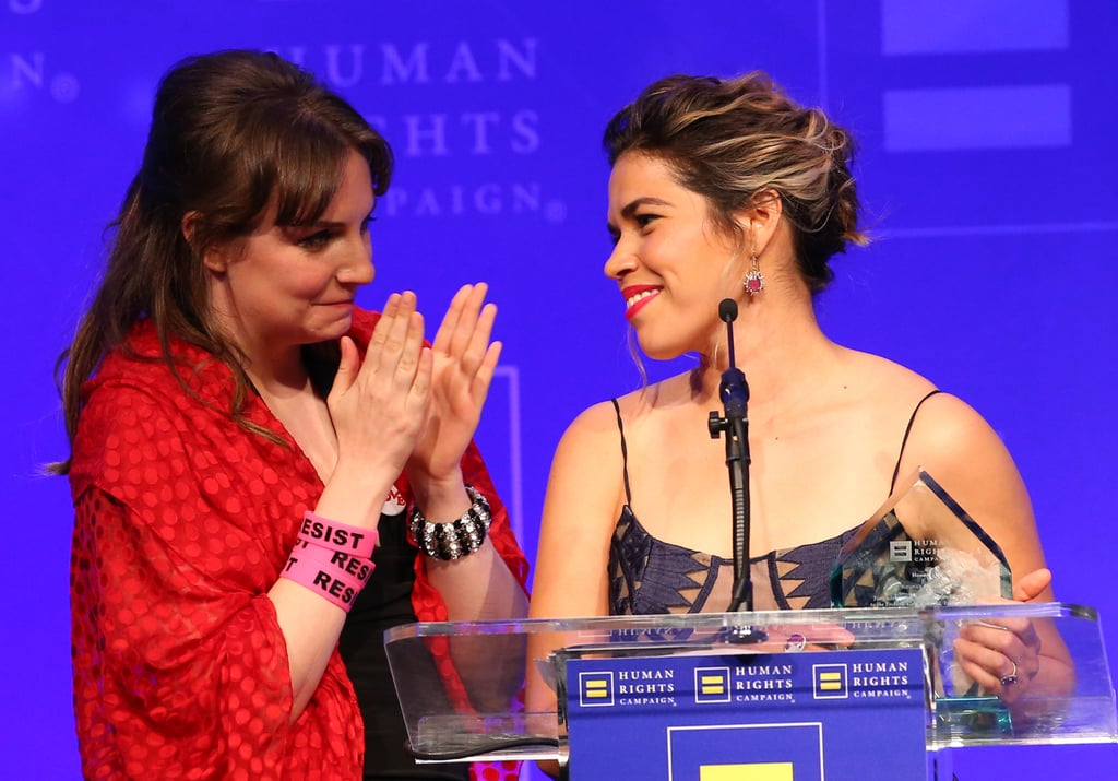 With Lena Dunham on Stage