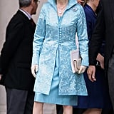 Princess Anne went for a turquoise dress and coat with matching hat.