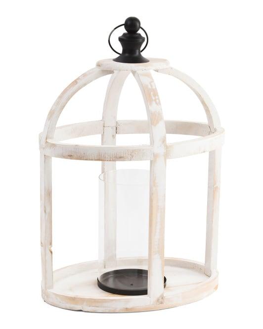 Wood Lantern With Hook