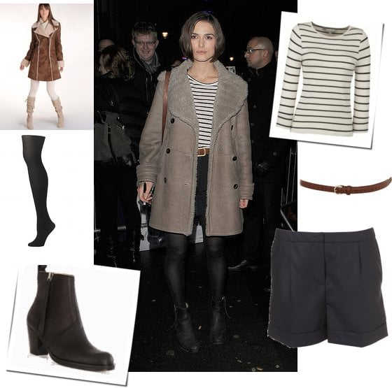 Photos of Keira Knightley in Sheepskin Coat and Nautical Top with Acne Boots