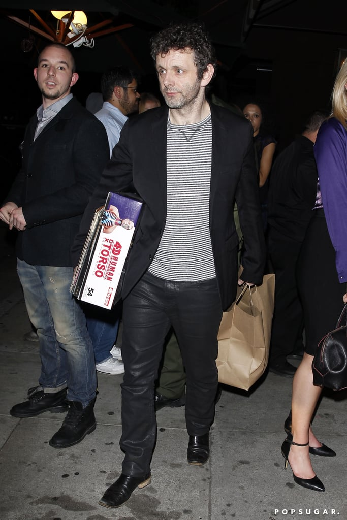 Michael Sheen rang in his 45th birthday in LA on Wednesday with a slew of Hollywood's most beautiful women. Kate Hudson, who costarred with Michael in 2002's The Four Feathers, dropped by the bash at Craig's restaurant, while Lily Collins pulled up to the event with her rumored new boyfriend, Australian actor Thomas Cocquerel. Other guests included Michael's Masters of Sex costar Lizzy Caplan (who arrived with a massive gift) and his ex-girlfriend Kate Beckinsale, who arrived with her husband, Len Wiseman.  With so many stars at a birthday party, you'd expect Michael to walk away with some ritzy loot. However, the actor was seen emerging form the restaurant with some unpretentious gifts, including a model of a human torso and a stack of vinyl records. Keep reading to see photos from Michael's birthday party.