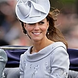 To match her gray Erdem dress at the Trooping the Colour Ceremony in 2012, Kate added interest with a hat by Jane Corbett.